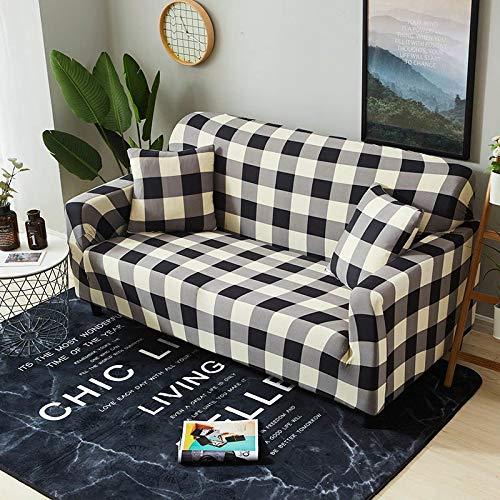Housse de canapé à Carreaux Housses de canapé élastiques pour Salon Causeuse Stretch Couvre Meubles Housses de Protection pour fauteuils Couch Cover 1PC-Color 17,1-Seater (90-140cm)