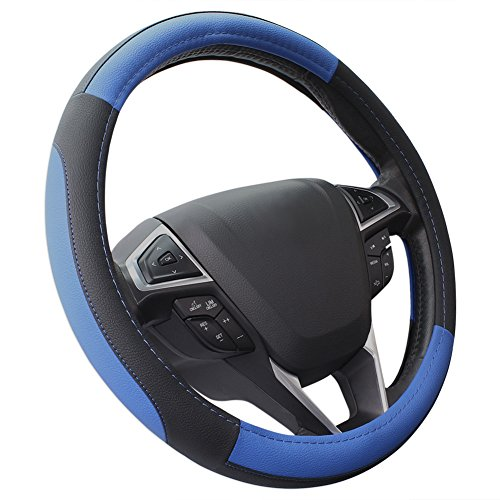 Preisvergleich Produktbild COFIT Lenkradhülle Lenkrad Abdeckung Lenkradbezug aus Mikrofaser-Leder 37-39 cm - Blau + Schwarz