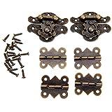 2pcs Gabinete de diseño retro decorativa caja de joyeria hembrillas con cierre en forma de mariposa y 28 tornillos bisagra 4pcs