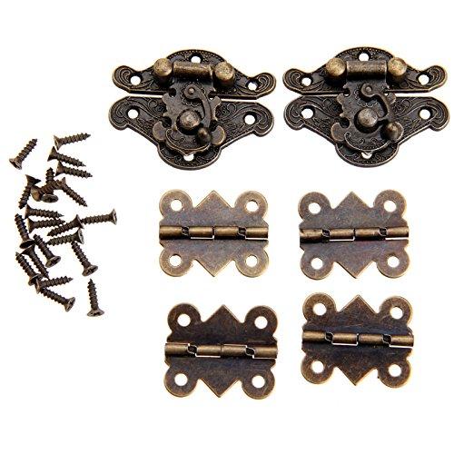 2 x Retro Bronze Verschluss Latch Hasps & 4 x Schmetterling Scharnier für Brust Schmuckschatulle mit Schrauben - Verschluss-brust