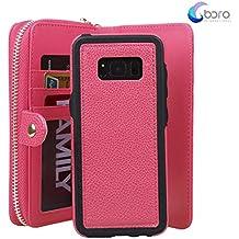 Custodia per Samsung Galaxy S8, custodia per portafoglio Galaxy S8, custodia staccabile in pelle rivestita in pelle rivestita con rivestimento in cuoio PU con tasche per la scheda per Samsung Galaxy S8.Rosa rossa