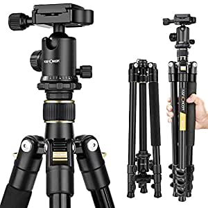 "Camera Tripod,K&F Concept 62"" Compact Light Aluminium Tripod with Quick Release Plate, Ball Head and Carrying Bag for Travel for DSLR Canon Nikon Sony Camera-Golden"