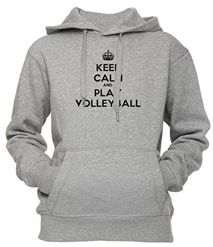 Keep Calm And Play Volleyball Unisex Herren Damen Kapuzenpullover Sweatshirt Pullover Grau Größe XL Men's Women's Hoodie Grey X-Large Size XL (Womens-volleyball Silver)