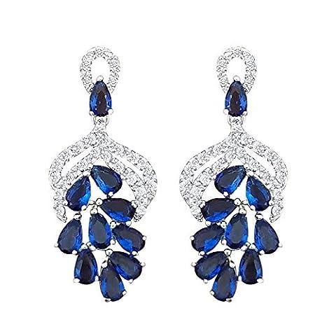 QUKE Cubic Zirconia Blue Sapphire Color Crystal Cluster Dangle Chandelier Drop Earrings Bridal