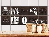 GRAZDesign 770529_15x15_FS10st Fliesenaufkleber für Küchen Fliesen Kaffee Motiv - alte Fliesen mit Fliesenfolie überkleben (15x15cm // Set 10 Stück)