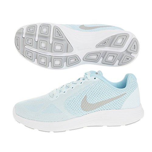 Nike Damen Revolution 3 Laufschuhe Mehrfarbig (Glacier Blue/Matte Silver-Still Blue-Wol)