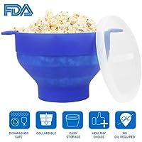 Popcorn Maker, Popcorn à micro-ondes Cuisinière Bol avec Poignée, FDA Silicone Pliable Popper Popcorn Bol avec Couvercle (bleu)