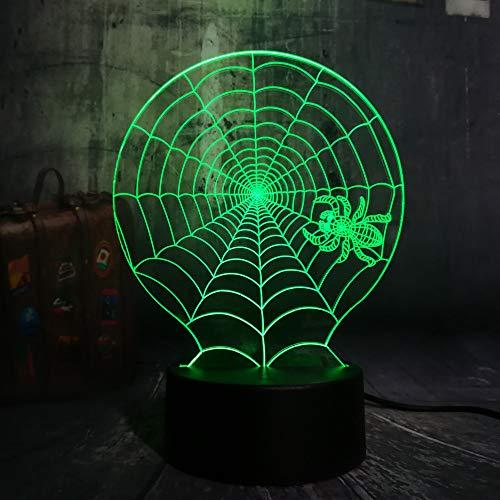 Xiujie Neue 3D Halloween Scary Scene Led Nachtlicht Spinnennetz Spinnennetz Schreibtischlampe Horror Wohnkultur Kind Weihnachtsgeschenk