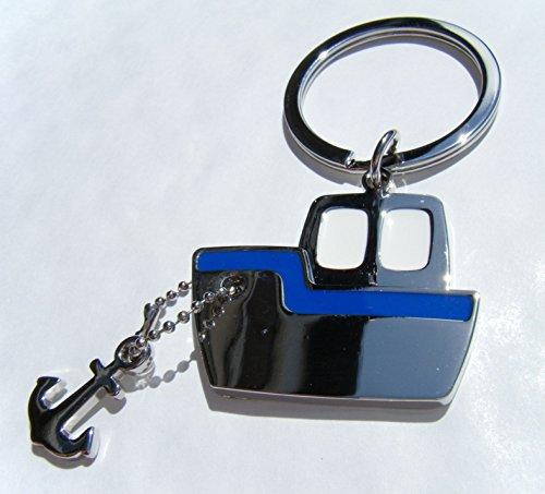 Preisvergleich Produktbild Motorboot mit Anker Schlüsselring,  Blau / Weiß,  inkl. Geschenkbox aus Chrom