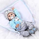 NPK Collection Reborn Baby Doll Die Puppen ist aus weichem Silikon. Es ist 22 Zoll 55 cm. Es ist ein h¨¹bsches und s¨¹?es Spielzeug f¨¹r M?dchen Geschenk f¨¹r sch?ne als Der Blaue anzug - puppe