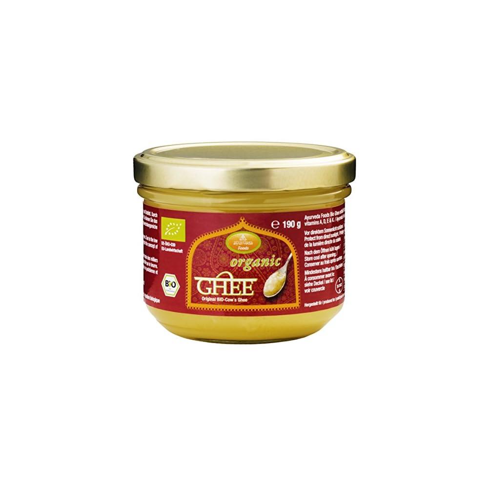 Ayurveda Foods Organic Premium Bio Ghee 3er Set 190g Sehr Lange Haltbarkeit Bio Siegel Brat Kochfett Enthlt Vitamine A D E K