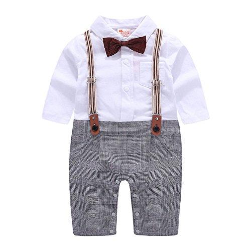 Baby Jungen Strampler Smoking Gentleman Anzug Kleinkinder Sommer Kleidung Outfit Fliege Taufkleidung (Gitter, 90/9-12 Monate)