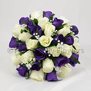 silk wedding flowers hand made by petals polly brides posy purple cream ivory. Black Bedroom Furniture Sets. Home Design Ideas