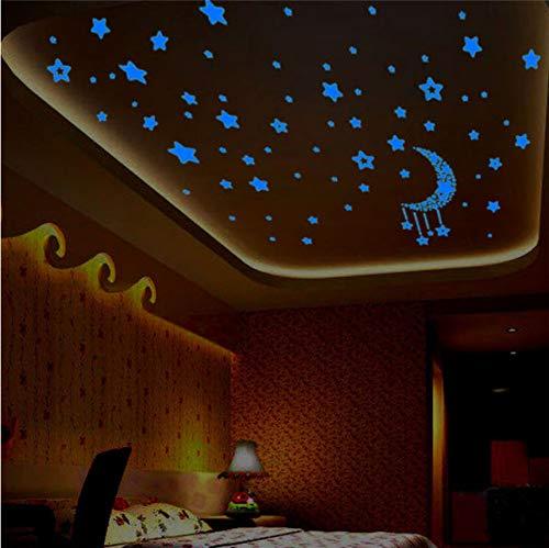 Cczxfcc 1 Set Blaues Licht Glow In Dark Kinder Schlafzimmer Fluoreszierend Glow In The Dark Sterne Wandaufkleber Leuchtenden Stern & Mond Set Aufkleber Verkauf