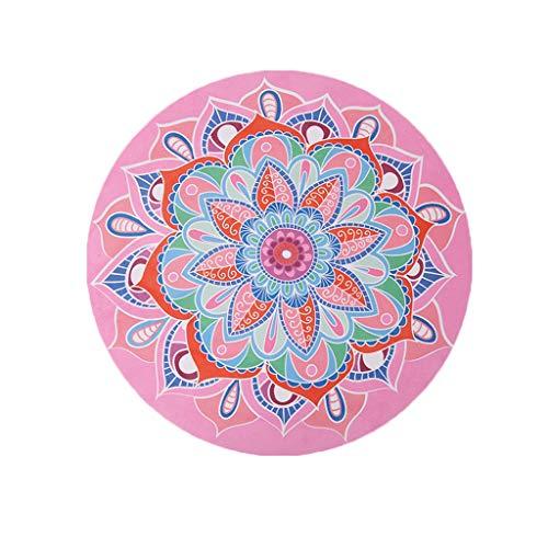 Yogamatte Sitzkissen Runde rutschfeste dünne Teppich rutschfeste Krabbeldecke Gymnastikmatte Decke Tuch Handtuch Strandtuch faltbar 60 * 60 cm Bodenmatte (Color : A)