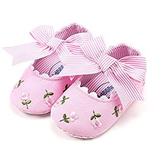 Haepe Baby Girl Shoes Kid First Walkers Floral Flowers Embroidery Flower Fashion Toddler Bow Autumnfall Boys Girls Soft Sole Canvas Crib Slip-On Slip On Anti Walking Canvas Shoes Pink