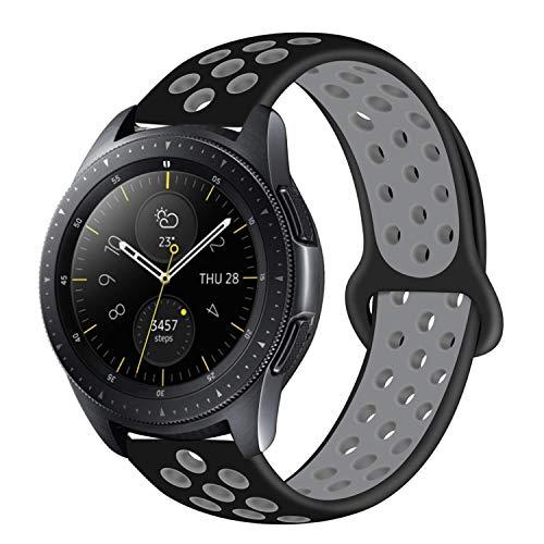 MroTec 20mm Silikon Armband kompatibel für Samsung Galaxy Watch 42mm, Galaxy Active, Gear Sport Silikonarmband kompatibel für Vivoactive 3, Withings Steel HR 40mm Sport Band -Schwarz Grau