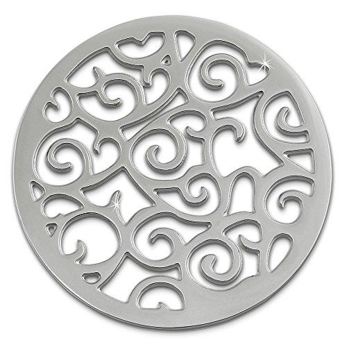 Amello Coin Edelstahl-Schmuck Coin silber Ornament - Coin für Amello Coinsfassung für Damen - - 30 mm, Größe M Edelstahlschmuck Stainless Steel ESC505J