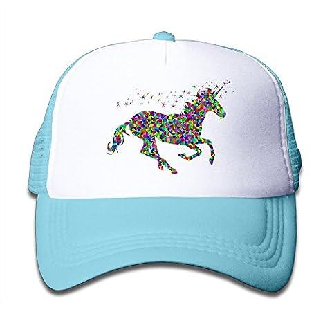 POY-SAIN Rainbow Unicorn Youth Mesh Hat Cap SkyBlue