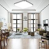 ETiME LED Deckenleuchte Dimmbar Deckenlampe Modern Wohnzimmer Lampe Schlafzimmer Küche Panel Leuchte 2700-6500K mit Fernbedienung Silber (30x30cm 12W Kaltweiß)
