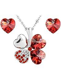 Le Premium® Schmuck-Set vier Blättern Klee Halskette+ohrring Gestüt Herz geformt Swarovski Padparacha rot Kristalle
