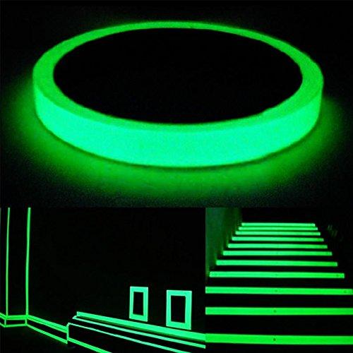 Phosphoreszierende Klebeband Aufkleber wasserdicht Abnehmbare nachleuchtend glow in the dark Sicherheit Tape 32,8Ft x 0,4/0.8in (LxB), grün, 32.8ft x 0.4in (Bett-lichtschalter)