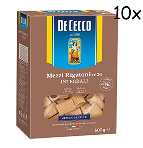 10x De Cecco Mezzi Rigatoni Whole Wheat Integrale