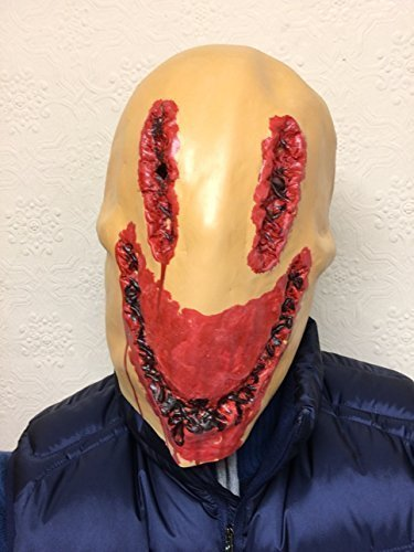 Horror Smiley Gesichtsmaske Latex Smile Stitches Blutig Gesicht Kostüm Horror Masken