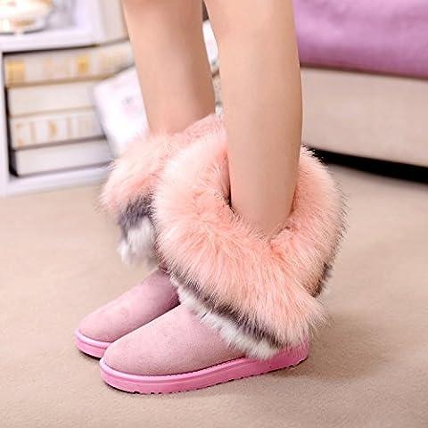 SHIXR Signore inverno faux fox pelliccia neve stivali donne neve stivali tubo pelliccia femmina isolato stivali nero/giallo/verde/rosa , pink , 39