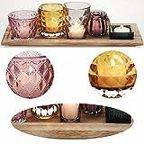 LS Design Holz Teelichthalter-Set Tablett Glas Windlicht Teelicht Kerzentablett