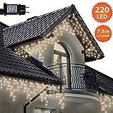 Eiszapfen Lichterketten 220 LED lichterkette außen, Warme weiße Baum Lichter, Länge 7,5m, GS Geprüft, Optional mit 8 Leuchtmodi/Memory/ Timer, Klare Kabel - 2 Jahre Garantie