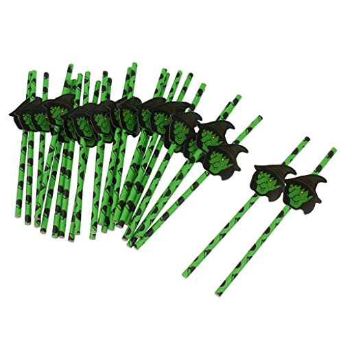 MagiDeal 25pcs Pajas Desechables con Etiqueta Engomada Forma de Calabaza/Sombrero Decoración de Cena de Fiesta de Halloween - Verde