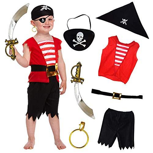 German Trendseller® Mega Piraten Set - Deluxe ┃ Piraten Party ┃ Weste + Hose + Gürtel + Kopftuch + Schwert + Ohrring + Augenklappe ┃ 7 Teiliges - ()