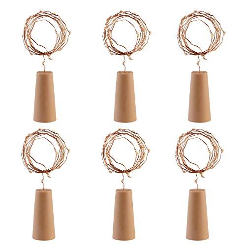 LEDMOMO 6 Stück Weinflasche Kork Licht LED 40 Zoll Starry Licht für Weihnachten Hochzeit und Halloween-Party (Weißlicht)