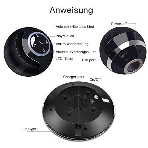 MUSIC ANGEL 360 Grad Lautsprecher mit Magnetschwebe mit Bluetooth 4.0 Multifarben LED kabellos, schwarz - 6