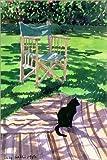 Poster 20 x 30 cm: Schwarze Katze und Klappstuhl von Lucy Willis/Bridgeman Images - hochwertiger Kunstdruck, neues Kunstposter