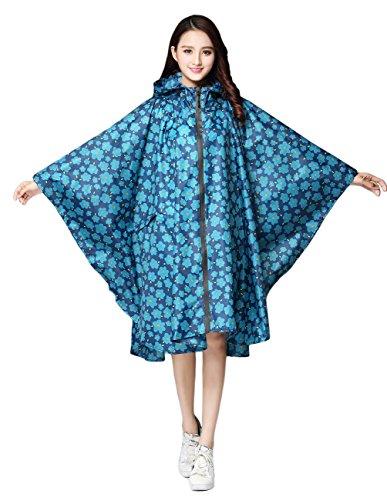Les femmes de beauté à capuche zippent imperméable à l'eau de pluie extérieure active imperméable poncho imperméable léger Blue