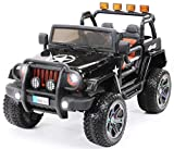 Kinder Elektroauto Jeep Wrangler Offroad - Lizenziert - 4x4 Allrad - Usb - Sd Karte - 4 x 35 Watt Motor - 2-Sitzer - Rc 2,4 Ghz Fernbedienung - Elektro Auto für Kinder ab 3 Jahre (Schwarz)