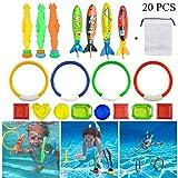 Movein 19 Stück Tauchen Spielzeug Unterwasser Schwimmbad Spielzeug, Schwimmspielzeug Tauchringe...