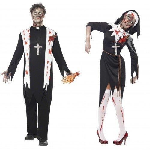 Fancy Me Herren & Damen Paar Kostüm zombie-nonne & Priester Halloween Horro Schwester Vater religiös Verkleidung Outfit - Schwarz, Schwarz, Ladies UK 16-18 & Mens Medium