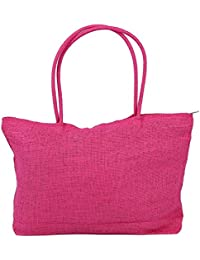 Rose Red : TOOGOO(R) Ladies Straw Weaving Summer Beach Tote Bag Shopping Travelling Zippered Bag-rose Red