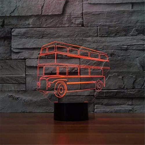 Led Night Light Spotlight 3D Led 7 Colorful Changing Night Light Double Decker Bus forma Desk Luminoso Usb Auto Baby Sleep Lighting