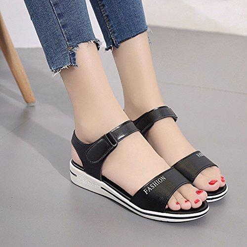 XY&GKFrauen mit flachem Boden niedrige Heel Heel Sandalen 38 black