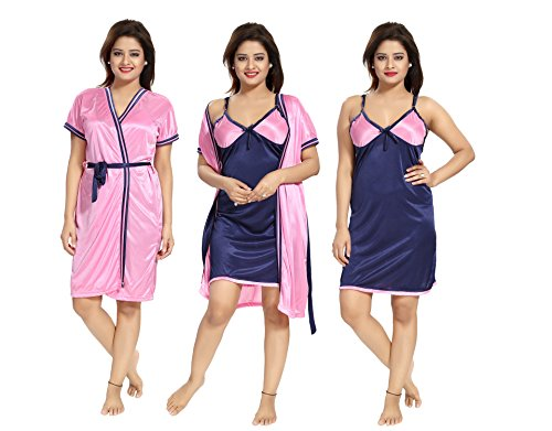 aa90319e33 Tucute Women s   Girls 2pcs Nighty   Nightdress   Night Gown (Inner short  Gown