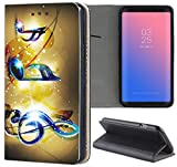 Samsung Galaxy S6 Edge G925 Hülle Premium Smart Einseitig Flipcover Hülle Samsung Galaxy S6 Edge G925 Flip Case Handyhülle Galaxy S6 Edge G925 Motiv (1065 Musik Noten Blau Gelb)