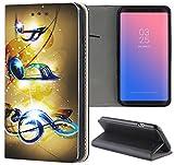 Samsung Galaxy Xcover 3 G388 Hülle Premium Smart Einseitig Flipcover Hülle Samsung Xcover 3 Flip Case Handyhülle Galaxy Xcover 3 Motiv (1065 Musik Noten Blau Gelb)