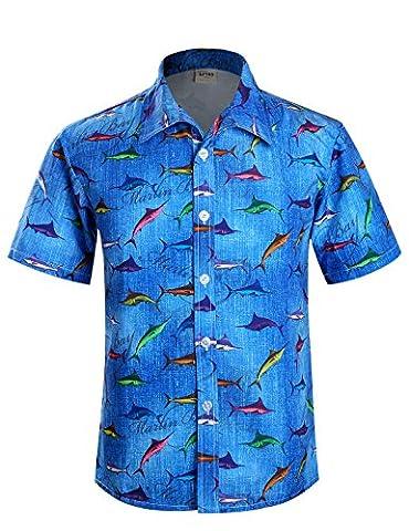 APTRO Herren Hemd Hawaiihemd Kurzarm Urlaub Hemd Freizeit Hemd Reise Shirt Kleine Fische HW002 XXL