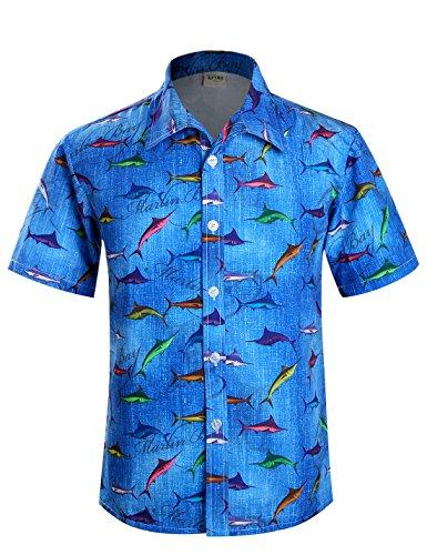 APTRO Herren Hemd Hawaiihemd Kurzarm Urlaub Hemd Freizeit Hemd Reise Shirt Kleine Fische HW002 M (Fisch Herren)
