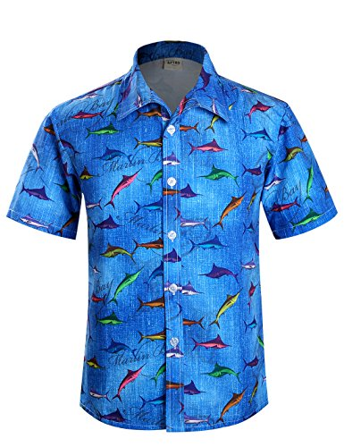 APTRO Herren Hemd Strandhemd Hawaiihemd Kurzarm Urlaub Hemd Freizeit Reise Hemd Palme-HW 02 Blau