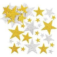 Baker Ross Pegatinas de Estrellas con Purpurina en Color Dorado y Plateado (Paquete de 150) Para decorar manualidades infantiles .